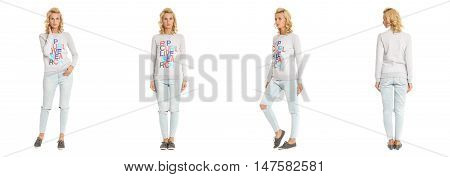 Young Sexy Blond Woman In White Pullover Isolated