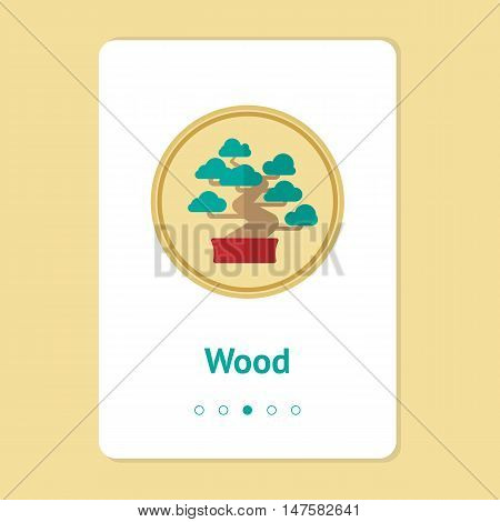 Element, symbol of feng shui in flat design: wood. Web design banner, layout. Concept