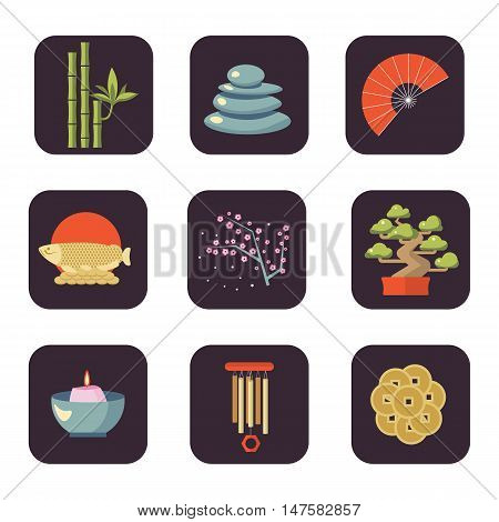 Feng Shui vector icon set. Feng Shui coin, tree, fire and bamboo, stone. Feng Shui illustration