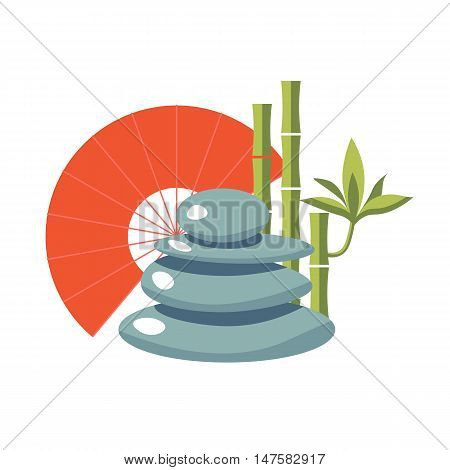 Japanese characters: stones, fan, bamboo. Japanese  asian vector set. Spa elements. Spa vector illustration. Feng Shui isolated icon