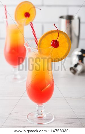 Fresh Home Made Tequila Sunrise Cocktails