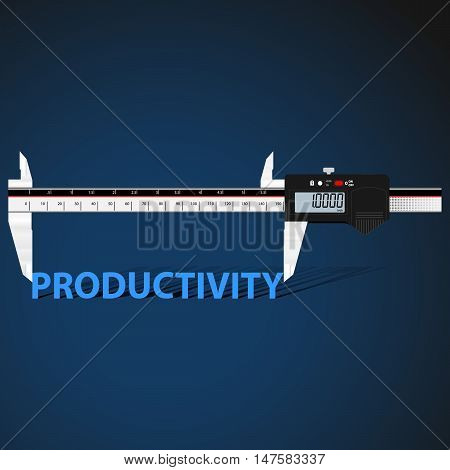 Abstract business background with digital slide gauge and title Productivity.