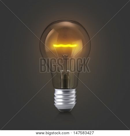 Light bulb with glow on a dark background. 3D illustration