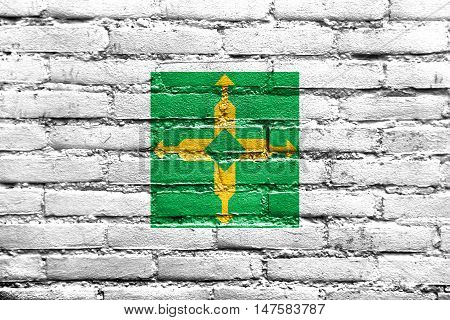 Flag Of Brasilia, Distrito Federal, Brazil, Painted On Brick Wall