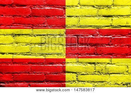 Flag Of Briceni, Moldova, Painted On Brick Wall