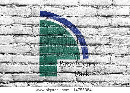 Flag Of Brooklyn Park, Minnesota, Usa, Painted On Brick Wall