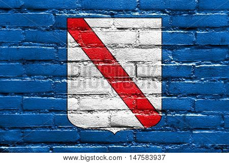 Flag Of Campania, Italy, Painted On Brick Wall