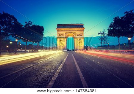 Arc de Triumph at evening, Paris, France