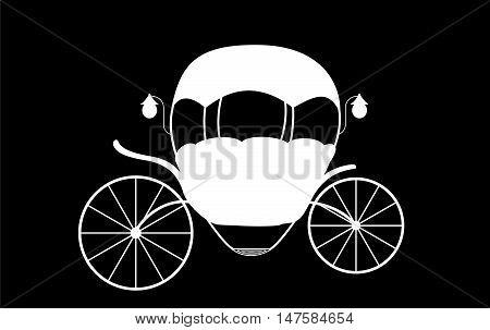 Black and White Cinderella Fairytale carriage. Vector Illustration. EPS10
