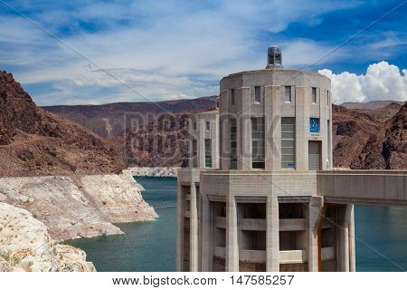 Hoover Dam Intake Towers. Hoover Dam in Nevada United States of America