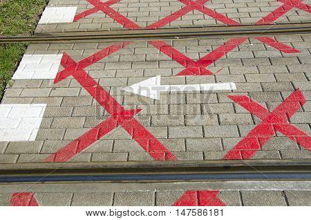 Red and white crosswalk through tram tracks