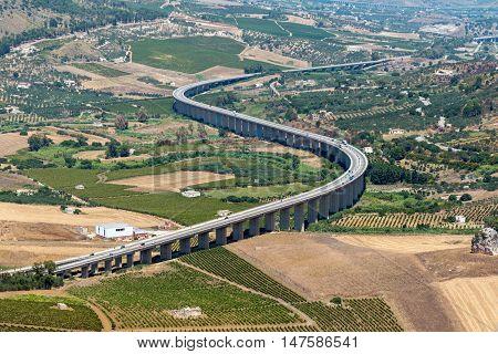Curved highway seen near Segesta in Sicily
