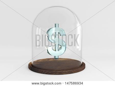 3D dollar sign crystal protected under a glass dome isolated