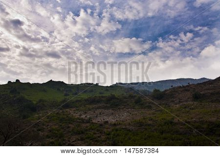 Natural beautiful sky over the mountains .