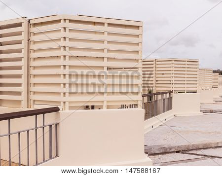 Construction details : Cement board screen on roof top Thailand