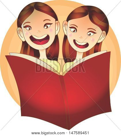 vector Illustration of Happy Girls smiling while Reading a Book concept of education