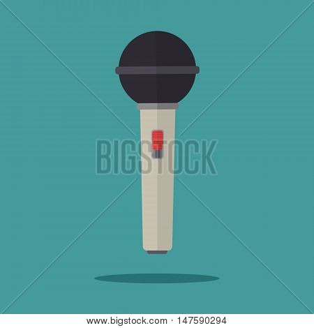 Flat design vector illustration of media tv music karaoke microphone with red button.