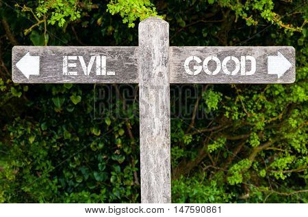 Evil Versus Good Directional Signs