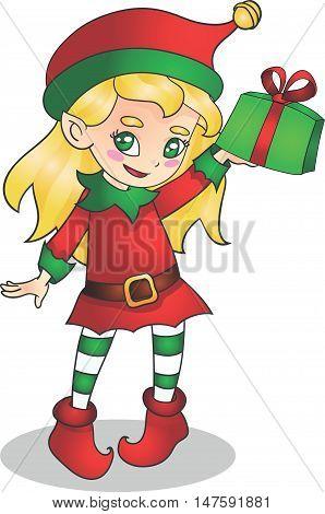 Christmas elf girl character with present vector illustration for children