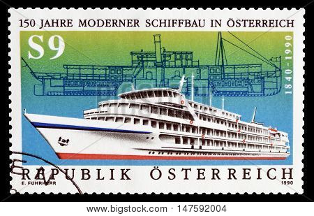 AUSTRIA - CIRCA 1990 : Cancelled postage stamp printed by Austria, that shows ship.