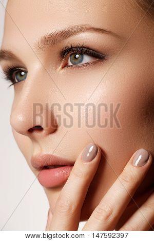 Sexy Lips. Beauty Natural Lips Makeup Detail. Beautiful Make-up