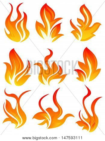 Nine simple fire icon on white background