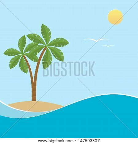 Palm trees in the background seascape. Vector illustration.