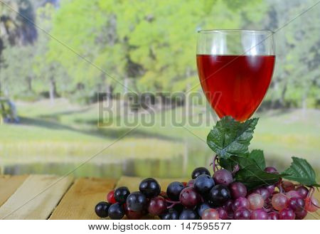 A glass of dark pink wine sitting on a wooden table with grapes with a blurred background of a tree lined lake in the sunshine. There is condensation on the glass and reflections from the lights.