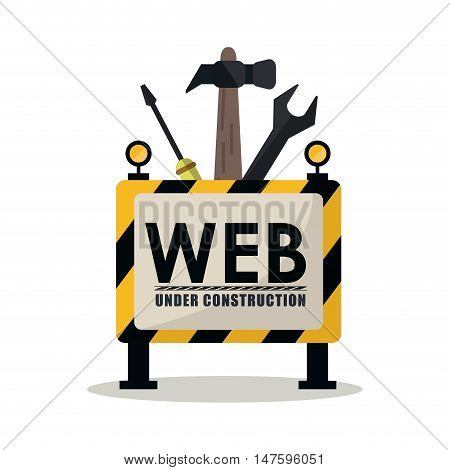 Barrier hammer screwdriver and wrench icon. Under construction and repair theme. Isolated design. Vector illustration