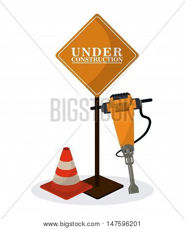 road sign cone and demolishing drill icon. Under construction and repair theme. Isolated design. Vector illustration