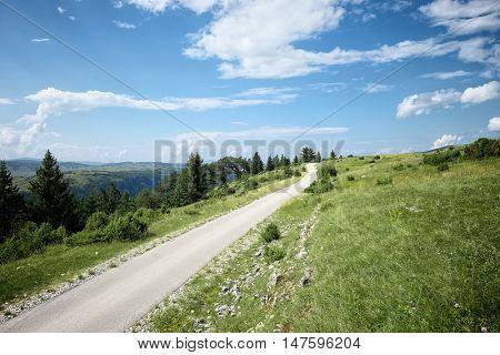 straight road on highland of Durmitor Park, Montenegro