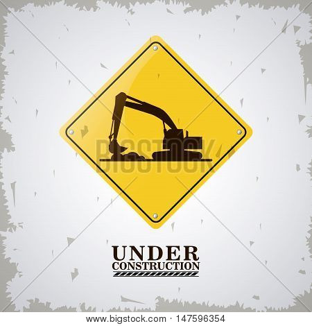 Hydraulic excavator and road sign icon. Under construction and repair theme. Isolated and grunge design. Vector illustration