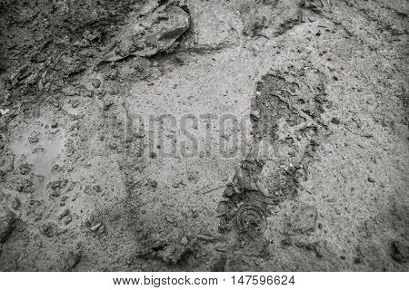 Imprint of the shoe on mud with copy space (black and white)