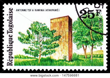 TOGO - CIRCA 1975 : Cancelled postage stamp printed by Togo, that shows Radio station Kamina.