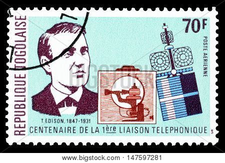 TOGO - CIRCA 1976 : Cancelled postage stamp printed by Togo, that shows Edison.