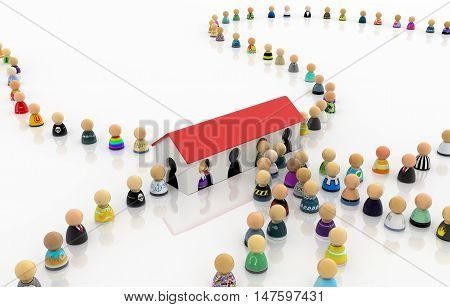 Crowd of small symbolic figures entry house 3d illustration horizontal