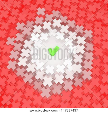 Abstract choice checkmark and cross symbol 3d illustration over white square