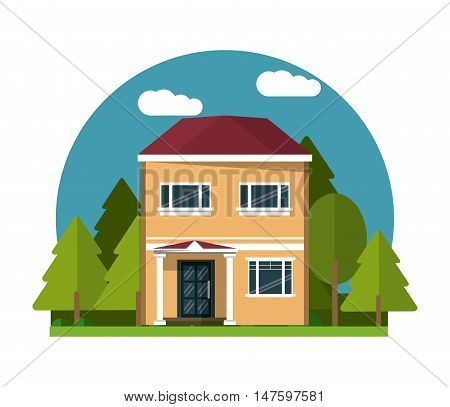 Home building with clouds and trees icon. House architecture family and real estate theme. Colorful design. Vector illustration