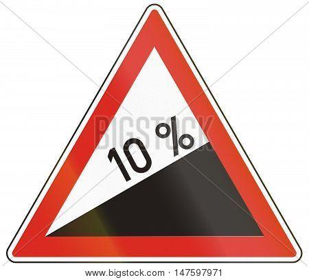 Hungarian Warning Road Sign - Steep Hill Upward