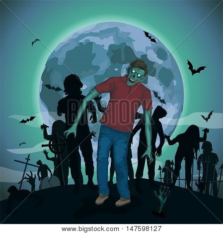 Halloween night moon zombi zombie evil spirits monster freak beast skeleton going attack invasion hipster bat graveyard .Vector vertical closeup view front full height illustration poster signboard.