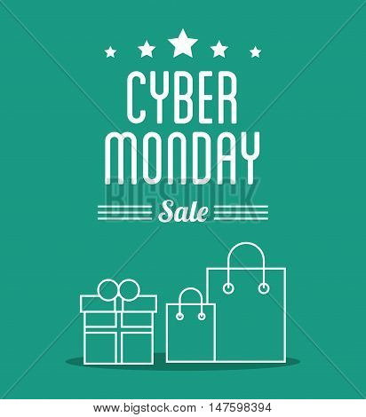 Gift and shopping bag icon. Cyber Monday ecommerce and market theme. Colorful design. Vector illustration