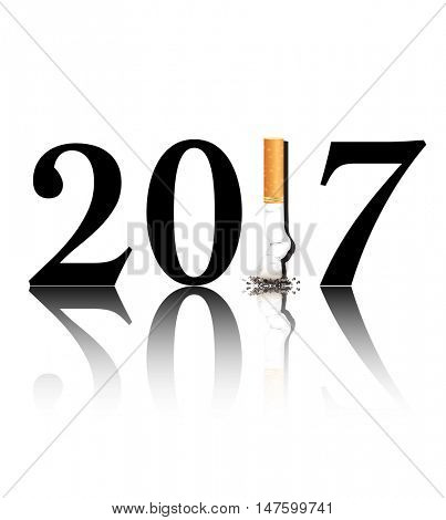 New Year's resolution Quit Smoking concept with the 1 in 2017 being replaced by a stubbed out cigarette. 2017 is reflected on the white background.