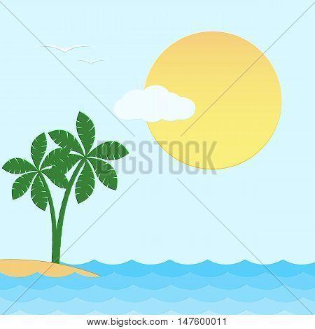 Seascape. Sea sun palm trees island cloud on a blue background. Vector illustration.