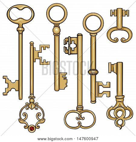Vector Set Of Cartoon Antique Keys.