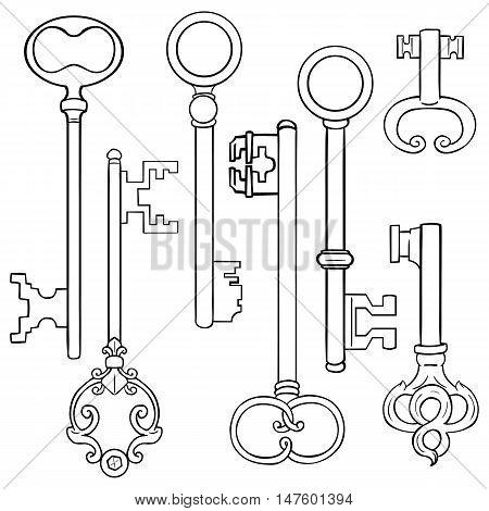 Vector Set Of Lineart Antique Keys