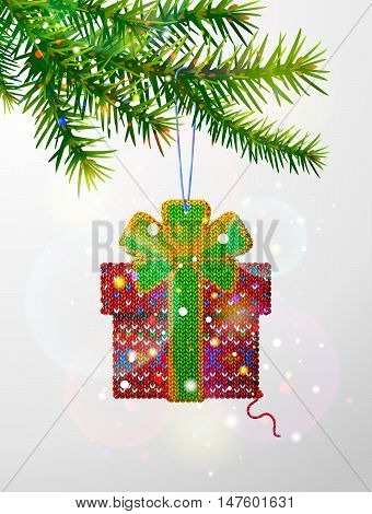 Christmas tree branch with decorative knitted gift. Gift box of knitted fabric hanging on pine twig. Vector image for christmas new year's day design winter holiday decoration silvester etc