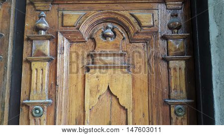 Close up of an old wooden door