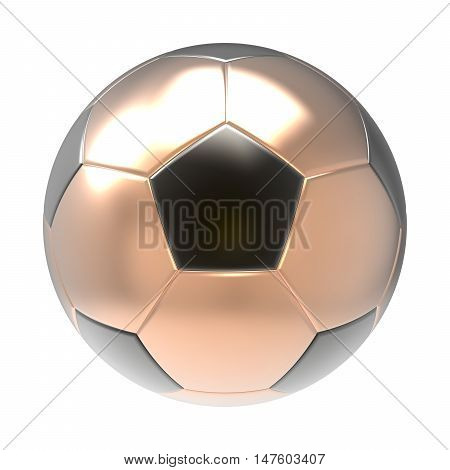 Bronze Soccer ball 3D render isolated on white
