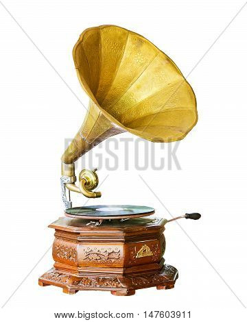 Golden gramophone isolated on white. Clipping path included