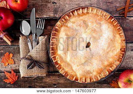 Apple Autumn Pie, Overhead Table Scene On A Rustic Wooden Background